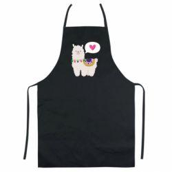 Цветной фартук Lama with pink heart