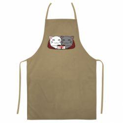Цветной фартук Сats with plaid and coffee