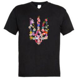 Мужская футболка  с V-образным вырезом Цветущий герб