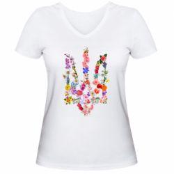 Женская футболка с V-образным вырезом Цветущий герб