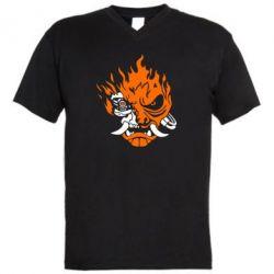 Чоловіча футболка з V-подібним вирізом Cyberpunk 2077 fire