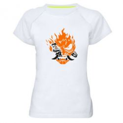 Жіноча спортивна футболка Cyberpunk 2077 fire