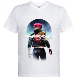 Чоловіча футболка з V-подібним вирізом Cyberpunk girl