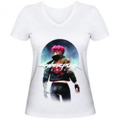 Жіноча футболка з V-подібним вирізом Cyberpunk girl