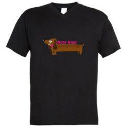 Чоловіча футболка з V-подібним вирізом Dachshund and funny text