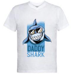 Чоловіча футболка з V-подібним вирізом Daddy shark