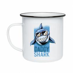 Кружка емальована Daddy shark
