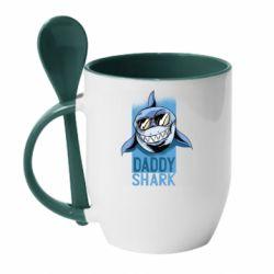 Кружка з керамічною ложкою Daddy shark