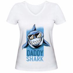Жіноча футболка з V-подібним вирізом Daddy shark