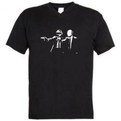 Мужская футболка  с V-образным вырезом Daft Punk group