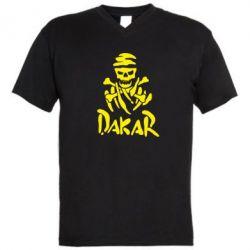 Мужская футболка  с V-образным вырезом DAKAR LOGO - FatLine