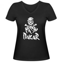 Женская футболка с V-образным вырезом DAKAR LOGO - FatLine