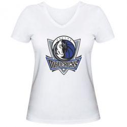 Женская футболка с V-образным вырезом Dallas Mavericks - FatLine