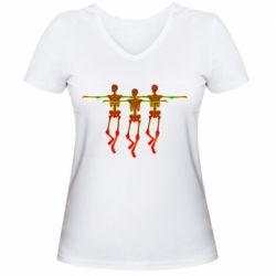 Женская футболка с V-образным вырезом Dancing skeletons