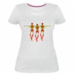 Женская стрейчевая футболка Dancing skeletons