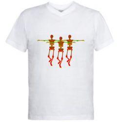 Мужская футболка  с V-образным вырезом Dancing skeletons