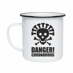 Кружка емальована Danger coronavirus!