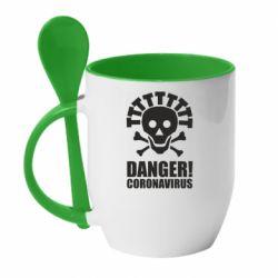 Кружка з керамічною ложкою Danger coronavirus!
