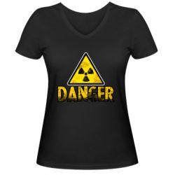 Жіноча футболка з V-подібним вирізом Danger icon