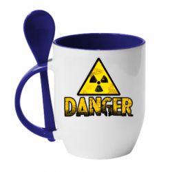 Кружка з керамічною ложкою Danger icon