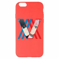 Чехол для iPhone 6 Plus/6S Plus Darling in the franxx Hiro and 002