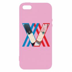 Чехол для iPhone5/5S/SE Darling in the franxx Hiro and 002