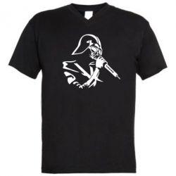 Мужская футболка  с V-образным вырезом Дарт Вейдер караоке - FatLine