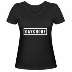 Женская футболка с V-образным вырезом Days Gone color logo