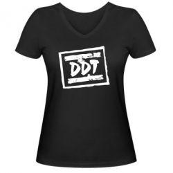 Женская футболка с V-образным вырезом DDT (ДДТ) - FatLine