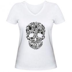 Жіноча футболка з V-подібним вирізом Dead  School