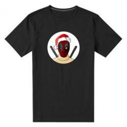 Мужская стрейчевая футболка Deadpool in New Year's hat