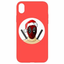 Чехол для iPhone XR Deadpool in New Year's hat