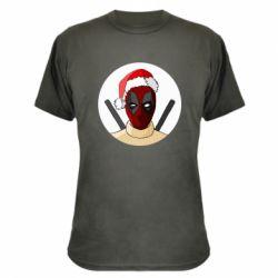 Камуфляжная футболка Deadpool in New Year's hat