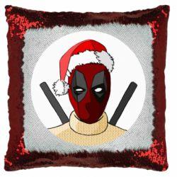 Подушка-хамелеон Deadpool in New Year's hat