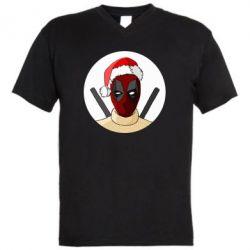 Мужская футболка  с V-образным вырезом Deadpool in New Year's hat