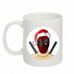 Кружка 320ml Deadpool in New Year's hat