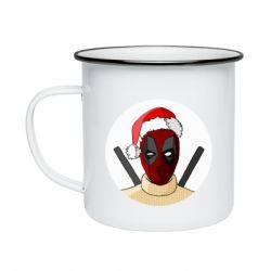 Кружка эмалированная Deadpool in New Year's hat