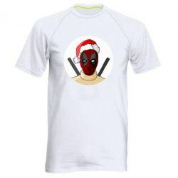 Мужская спортивная футболка Deadpool in New Year's hat