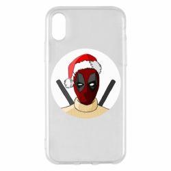 Чехол для iPhone X/Xs Deadpool in New Year's hat