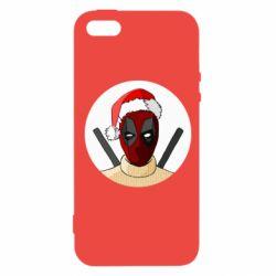 Чехол для iPhone5/5S/SE Deadpool in New Year's hat