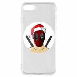 Чехол для iPhone 8 Deadpool in New Year's hat