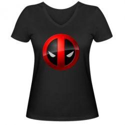 Женская футболка с V-образным вырезом Deadpool Logo - FatLine