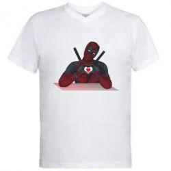 Чоловіча футболка з V-подібним вирізом Deadpool love 3D model