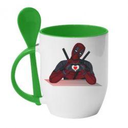Кружка з керамічною ложкою Deadpool love 3D model