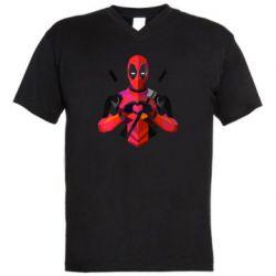 Мужская футболка  с V-образным вырезом Deadpool Love