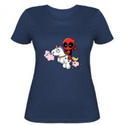 Женская футболка Deadpool on the unicorn