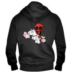 Мужская толстовка на молнии Deadpool on the unicorn