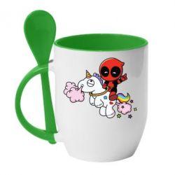 Кружка с керамической ложкой Deadpool on the unicorn