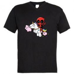 Мужская футболка  с V-образным вырезом Deadpool on the unicorn