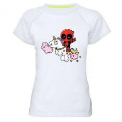 Женская спортивная футболка Deadpool on the unicorn